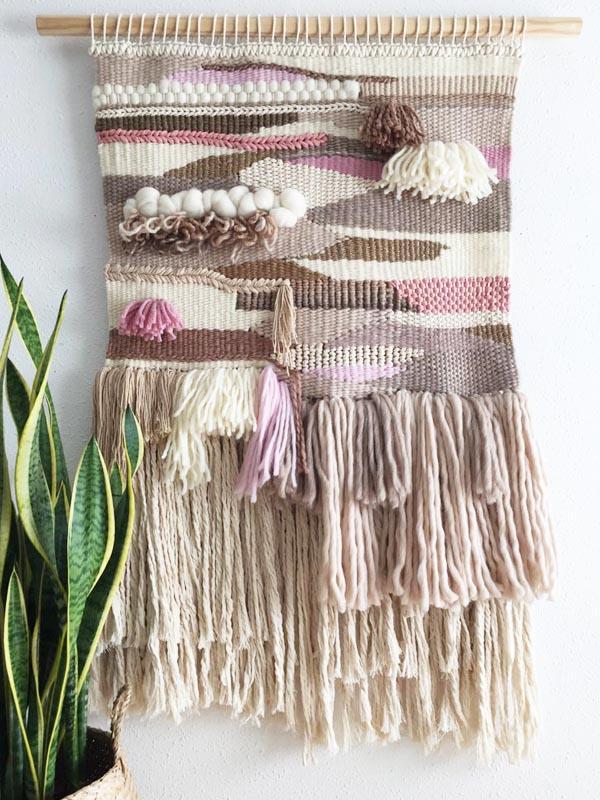 taller tapiz de lana en telar