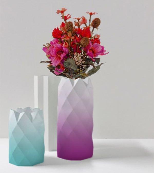 Taller jarrón de origami con yeso